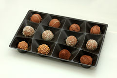 Various chocolates in a tray Stock Photo