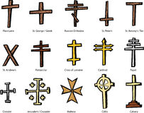Various Christian Crucifix Designs Royalty Free Stock Photography