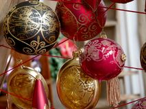 Various Christmas baubles. Time for Christmas Gifts Royalty Free Stock Image