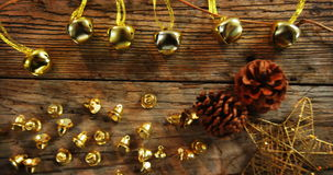 Various christmas decoration arranged on a plank stock video