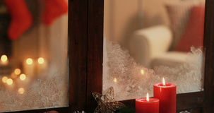 Various christmas decoration with candles. During christmas time 4k stock video footage