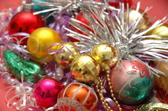 Various christmas decorations. On red background stock images