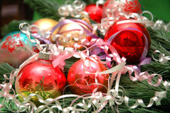 Various christmas decorations. And fir tree branch Stock Image