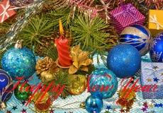 Various Christmas decorations closeup Stock Photo