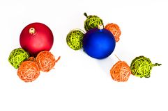 Various christmas decorations isolated Stock Photos
