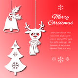 Various Christmas decorations such as a bell with holly, fir-tree  snowflakes,  deer in scarf. Objects looking cut paper isolated Stock Images