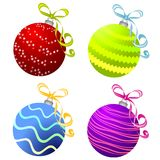 Various Christmas Ornaments 2. A clip art illustration of a variety of christmas ornaments - round bulbs featuring decorative stripes and ribbons in red, blue Royalty Free Stock Image