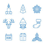 Various christmas outline icons set Royalty Free Stock Photo