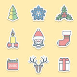 Various christmas outline labels icons set. Vector flat christmas outline labels icons set royalty free illustration
