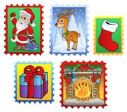Various Christmas post stamps 2. Illustration Royalty Free Stock Images