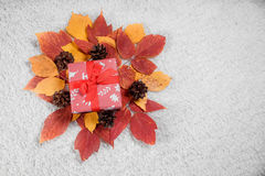 Various Christmas presents in home. Red, white Stock Photography