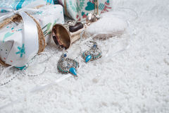 Various Christmas presents in home. White blue Stock Photo