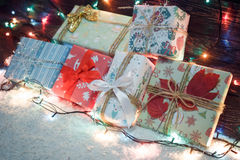 Various Christmas presents in home. White blue Stock Images
