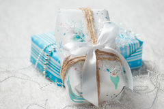 Various Christmas presents in home. White blue Royalty Free Stock Images