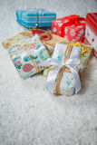 Various Christmas presents in home. White blue Royalty Free Stock Photo