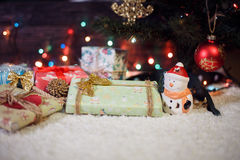 Various Christmas presents under the illuminated tree. Various Christmas presents under the illuminated Christmas tree Royalty Free Stock Images