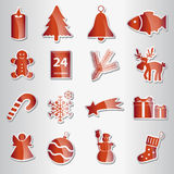 Various christmas red shiny stickers collection Royalty Free Stock Photos