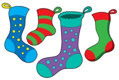 Various Christmas socks Royalty Free Stock Photo