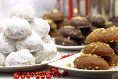 Various Christmas traditional desserts Royalty Free Stock Images