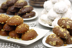 Various Christmas traditional desserts Stock Image