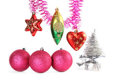 Various christmas-tree decorations and tinsel Royalty Free Stock Images