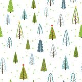 Various Christmas trees seamless pattern for gifts, wallpaper. stock illustration