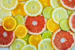 Various citrus slices. Background of some various colorful citrus slices Royalty Free Stock Image