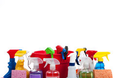 Various cleaning supplies on a white background Royalty Free Stock Photo