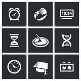 Various clock and a method for determining time icons set. Vector Illustration. Royalty Free Stock Photos