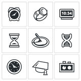 Various clock and a method for determining time icons set. Vector Illustration. Stock Image