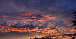 Various cloud chaos. volumetric clouds at sunset Royalty Free Stock Photography
