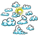 Various cloud shapes vector sketches with sun Royalty Free Stock Photo