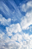 Various cloud types on a sunny day sky. royalty free stock photography