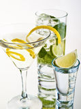 Various cocktails and alcohol on white background Royalty Free Stock Photos