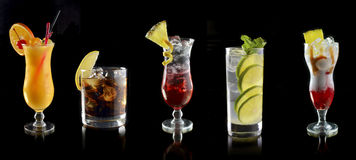 Various Cocktails At The Bar Stock Photography