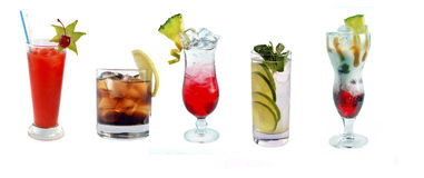 Various cocktails at the bar royalty free stock images