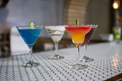 Various cocktails drinks on a bar counter. In bar royalty free stock photos