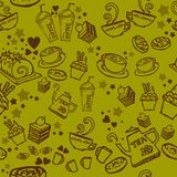 Various coffee,cake,cupcake, cookie , appetizer and beverage seamless pattern sketch drawing line by brown ink with matcha green t Stock Photo