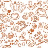 Various coffee,cake,cupcake,Sandwich,cookie , appetizer and beverage seamless pattern sketch drawing line by brown pen  Royalty Free Stock Images