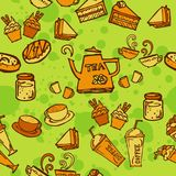 Various coffee,cake,cupcake,Sandwich,cookie , appetizer and beverage seamless pattern sketch drawing line orange tone Themes and Royalty Free Stock Photography