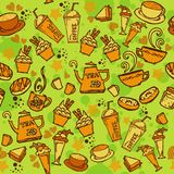 Various coffee,cake,cupcake,Sandwich,cookie , appetizer and beverage seamless pattern sketch drawing line orange tone Themes and Royalty Free Stock Image