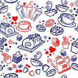 Various coffee,cake,cupcake,Sandwich,cookie , appetizer and beverage seamless pattern sketch drawing line by red and blue pen vect Stock Photo