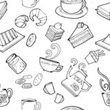 Various coffee,cake,cupcake,Sandwich,cookie , appetizer and beverage seamless pattern sketch drawing line  Stock Photos