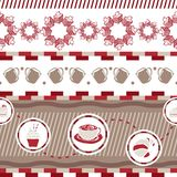 Various coffee,cake,cupcake,Sandwich,cookie , appetizer and beverage seamless pattern sketch drawing line  Stock Images