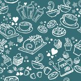 Various coffee,cake,cupcake,Sandwich,cookie , appetizer and beverage seamless pattern sketch drawing line by white pen  with Stock Photos