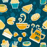 Various coffee,cake,cupcake,Sandwich,cookie , appetizer and beverage seamless pattern sketch drawing line  with yellow blue Royalty Free Stock Photos