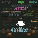 Various coffee drinks stock illustration
