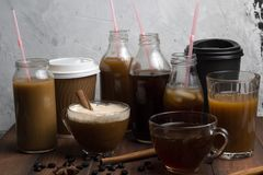 Various of  coffee drinks Stock Photography