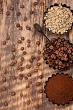 Various coffee. Green raw coffee, ground coffee, roasted coffee beans. Top view Stock Photo