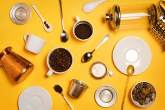Various coffee making accessories, equipment and utensils: cezve, french press, vietnamese Phin filter etc Royalty Free Stock Images